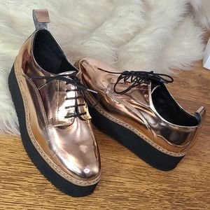 Shelly's London rose gold platform loafers 37 or 7